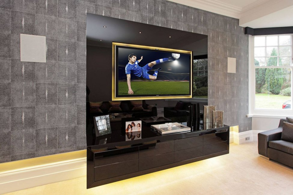 wall hung cabinet and television surround